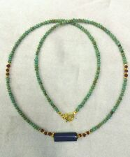 Afghan Natural Turquoise Tiny Seed Beads Necklace with Lapis Lazuli Pendant