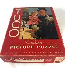 "Vintage Tuco Deluxe Picture Puzzle ""Safety First"" Complete, 1940's Made In USA."