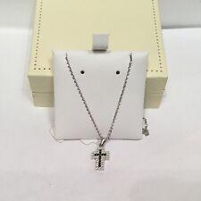 Collana Oro Bianco Con Ciondolo Croce Zirconi Bianchi e Neri