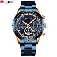 CURREN 8355M Men Quartz Watch Stainless Steel Band Wristwatch 3ATM Calendar Date