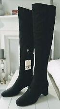 Ladies Zara Black Over The Knee Block Heel Boots & Back Slit UK7 BNWT LAST PAIR