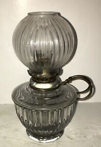 Antique Miniature GLOW NIGHT Glass Oil Lamp Embossed w/Original Shade Pat 5.5.08