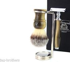 GIFT SET FOR MEN (Brush horn handle DE safety razor Horn handle steel Holder)