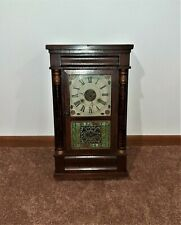 Antique Seth Thomas Pillar Wood Weighted Clock Plymouth Hollow Flowers Painted