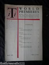 INTERNATIONAL THEATRE INSTITUTE WORLD PREMIER - MAY 1959 VOL 10 #8
