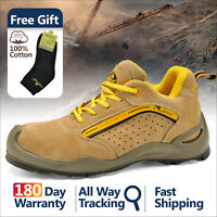 Safetoe Safety Shoes Mens Work Boots Steel Toe Yellow Leather Breathable L-7296