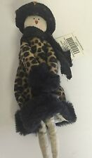Christmas Ornament Fashion Lady Leopard Winter Coat Sequin Hat Black 10""