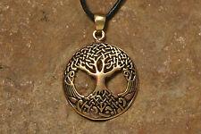 Anhänger Yggdrasil Bronze + Lederband Wikinger Weltenesche Amulett Set Baum