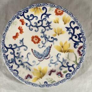 """Ralph Lauren Mandarin Blue Porcelain 9"""" Salad Dessert Plate Flowers Butterfly"""