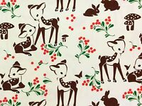 RPFMM113A Deer Fawn Berries Forest Mushroom Bambi Bunny Cotton Quilt Fabric