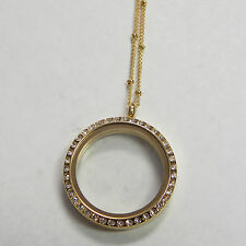 with Crystals Stainless w/ Free Chain 316 Living Locket for Floating Charm Gold