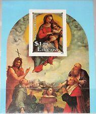 LIBERIA 1983 Block 105 S/S 981 Christmas Paintings by Raphael Raffael Madonna **