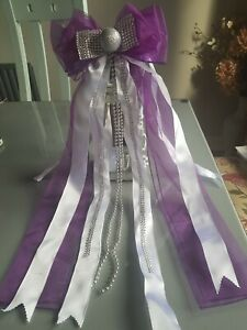 Purple White Silver Christmas Tree Topper Bow Large Handmade Luxury Bows Decor