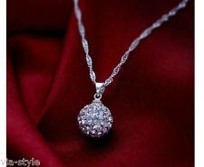 Shamballa Pendentif Collier zircon cristal strass argent 925 pl. mariage