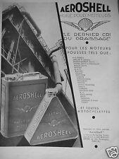 PUBLICITÉ 1932 AÉROSHELL HUILE POUR MOTEUR ALFA BUGATTI FARMAN ROLLS HISPANO M.G