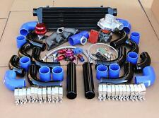 T3T4 TURBO+MANIFOLD+BLACK INTERCOOLER+BLUE COUPLER KIT FOR D15 D16 HONDA CIVIC