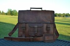 """New Men """"Large"""" Vintage Genuine Leather Briefcase Messenger Shoulder Bag Satchel"""