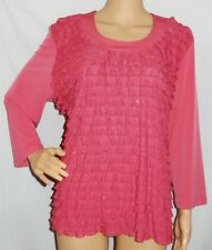 """""""NONI-B"""" - Great PreLoved - Size XL - """"Dark Pink"""" Layered, Sequin 3/4 Sleeve Top"""