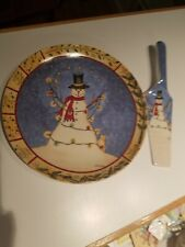 "VTG L. SPIVEY CHRISTMAS SNOWMAN & CAT CAKE PLATE/SERVING PLATE & SPATULA (10"")"