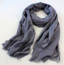<SALE> Pure Wool Women Men Long Scarf Soft Pashmina Winter Shawl Grey Charcoal