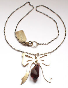 925 Sterling Silver Gold Plated Necklace Brown Crystal Glass Bow Vintage Retro