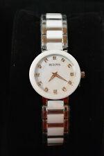 NEW Bulova Diamond Women's Stainless Steel and Ceramic Watch 98P158