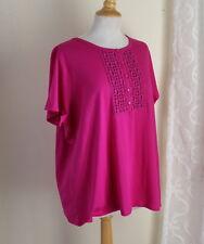 NWT Talbots -Sz 3XP 3X Dark Pink Artsy MOD Funky Embroidery Knit Shirt Top