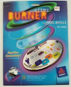 Avery After Burner Silver Foil Refills 20 CD and DVD Labels Full Face NEW