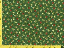 Red Yellow Gold Flowers on Green Quilting Fabric by the Yard  #407