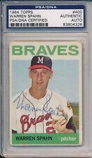Braves Warren Spahn HOF 73 Signed Auto 1964 Topps Card #400 ~ PSA/DNA Auth Slab