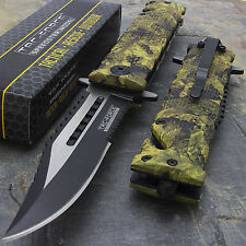 "8.5"" TAC FORCE GLASS BREAKER SPRING ASSISTED TACTICAL FOLDING KNIFE Blade Pocket"