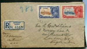 1935 Silver Jubilee Gambia 3d and 1d on correct rate registered cover to England