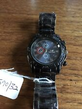 Mens New ORLANDO Black Faced Watch & Band  W590/32
