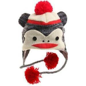 x 8 inch high Unisex Green Ragg Beanie Hat 2-4 year old size girl Sock Monkey Style boy Accessory l8 inch dia Crochet