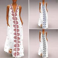 Women V Neck Sleeveless Floral Print Casual Loose Leisure Maxi Long Dress Kaftan