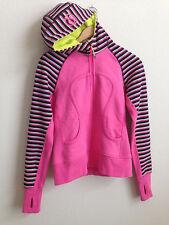 Lululemon Scuba Hoodie Pink Stripe Split Pea size 6