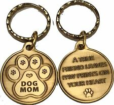 Dog Mom Keychain Pawprint Heart Design A True Friend Leaves Pawprints Key Chain