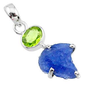 8.70cts Natural Blue Tanzanite Rough Peridot 925 Sterling Silver Pendant T10783
