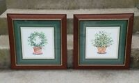 Pair Vintage Wood Wooden Glass Gold Gilt Picture Painting Print Frames Floral