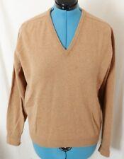 Alan Paine Jack Henry Vtg 100% Wool Brown Tan Pullover V-Neck Sweater Men's 42