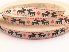 Printed Cotton Ribbon 5/100y Merry Christmas deer DIY Sewing Craft 15mm