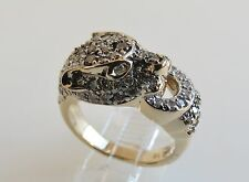 *ESTATE* Diamond encrusted PANTHER CAT RING 14K YELLOW GOLD sz 6.75 EL hallmark