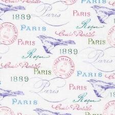 FAT QUARTER-Paris in Bloom 1889 Text France Fabric Robert Kaufman 71852-1 White