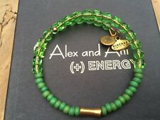 RARE ALEX and ANI VINTAGE 66 Green MIXED BEADED Russian GOLD Wrap BRACELET