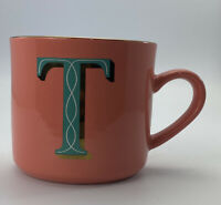 Opalhouse 16oz Stoneware T Monogram Initial Mug Pink And Teal Cup Mug