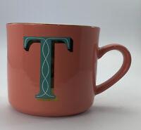 Opalhouse 16oz Stoneware T Monogram Initial Mug Pink And Teal Cup Mug
