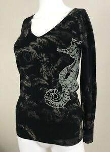 Raw 7 Cashmere Embroidered Seahorse Sweater Small Black V Neck