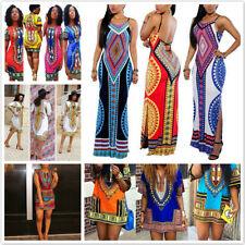 Fashion Women's Traditional African Print Dashiki Dress Party Tops Shirt Dress
