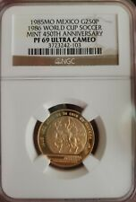 Mexico World Cup Soccer 250 Pesos 1985 Gold Proof NGC PF 69 Ultra Cameo KM 506.2