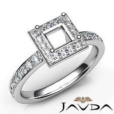 Halo Pave Setting Princess Diamond Engagement SemiMount Ring Platinum 950 0.45Ct